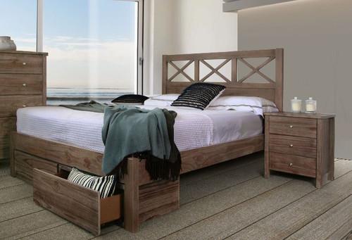 YANDA QUEEN 3 PIECE (BEDSIDE) SOLID  WOOD BEDROOM SUITE - WIRE BRUSH WITH CARAMEL FUDGE