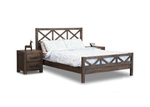 EDISON CROSS QUEEN 3 PIECE  BEDSIDE BEDROOM SUITE - BRUSHED BROWN