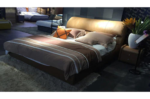 QUEEN RUCCI (A9657) 100% LEATHER / ETTE COMBINATION WITH GAS LIFT UNDERBED STORAGE - ASSORTED COLOURS