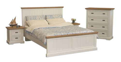 HAMPTONS KING 4 PIECE  TALLBOY BEDROOM SUITE - WHITE & BLONDE