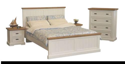 HAMPTONS KING 4 PIECE  TALLBOY BEDROOM SUITE - WHITE & BLONDE