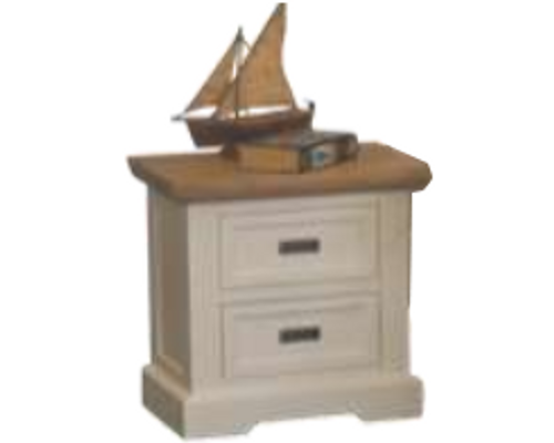 HAMPTONS 2 DRAWER BEDSIDE TABLE - WHITE & BLONDE
