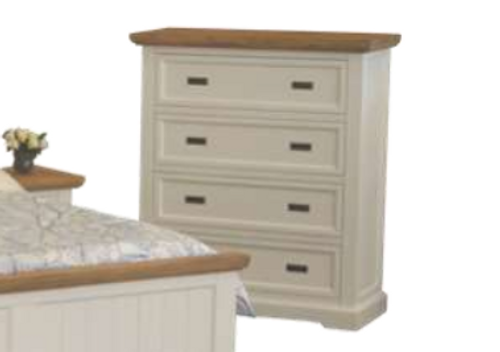 HAMPTONS 4 DRAWER TALLBOY - WHITE & BLONDE