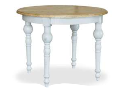 FRENCH PROVINCIAL ROUND DINING TABLE - 760(H) X  1000(DIA) - ANTIQUE WHITE & OAK