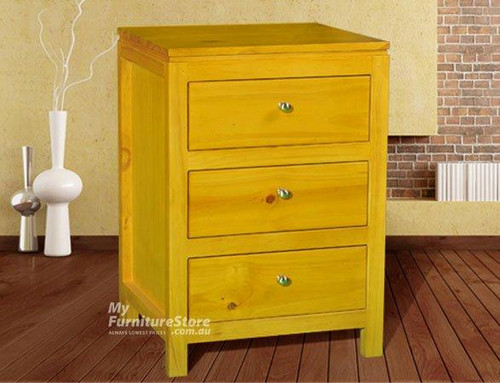 OLIVER (AUSSIE MADE) STRAIGHT LEG 3 DRAWER BEDSIDE TABLE - ASSORTED COLOURS