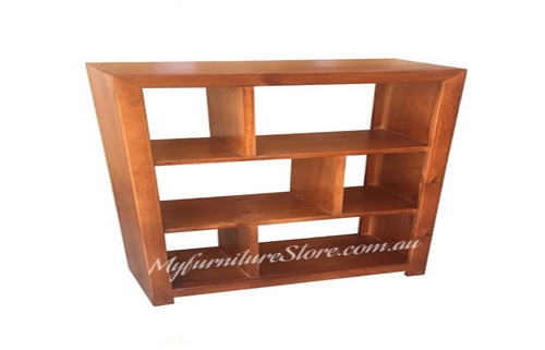 DERBY LOWLINE BOOKCASE / STAGGERED ROOM DIVIDER - 1000(H) X 1500(W) - (NO BACK) - BLACK RIVER TEAK