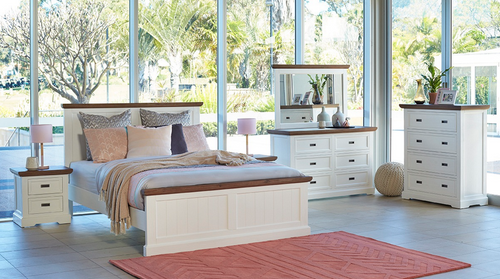 HAMPONS QUEEN 4  PIECE  TALLBOY BEDROOM SUITE - WHITE / NATURAL