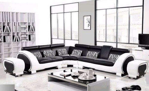 ANGEL (8065-3)  CORNER LEATHER  LOUNGE  SUITE (3S+C+2S+2STOOLS)  - ASSORTED COLOURS