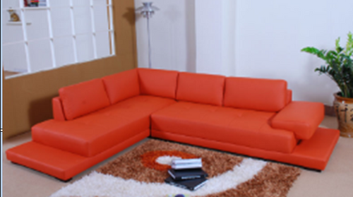 DETROIT LEATHERETTE 3 SEATER + LHS/RHS CHAISE - RED
