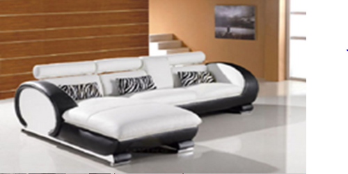 ILLINIOS LEATHERETTE 3 SEATER + LHS/RHS CHAISE - WHITE WITH BLACK