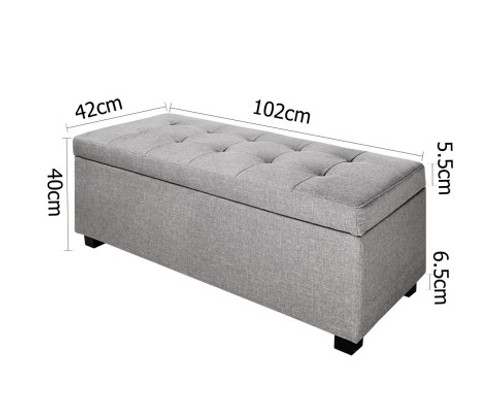 AMARIS FAUX LINEN FABRIC STORAGE OTTOMAN (OTM-L-LINEN-LI2-GY) - 400(H) X 1020(W) - LIGHT GREY