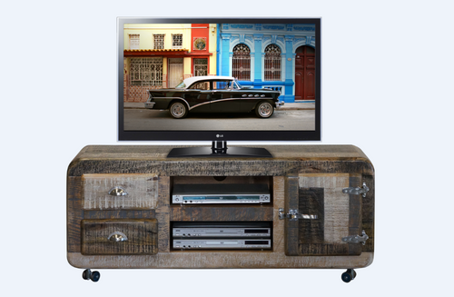 DETRIOT  ENTERTAINMENT UNIT WITH 2 DRAWER AND DOOR -580(H) x 1350(W)- DISTRESSED MULTI