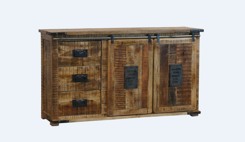 FOUNDRY BUFFET  WITH 3 DRAWER AND 2 DOOR-  900(H) X 1600(W) - RUSTIC MANGO