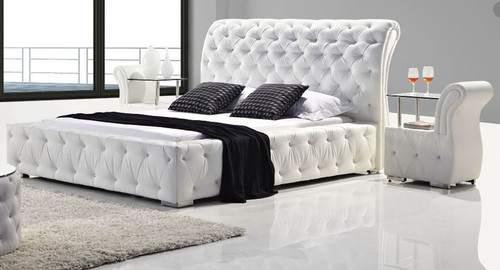 BETHANY KING 3 PIECE (BEDSIDE) LEATHERETTE BEDROOM SUITE WITH DIAMONTES (MODEL: B032#) - ASSORTED COLOURS