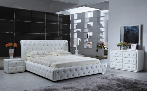 BETHANY   (9391) QUEEN 3 PIECE BEDSIDE BEDROOM SUITE - COMBINATION LEATHER - CHOICE OF COLOURS