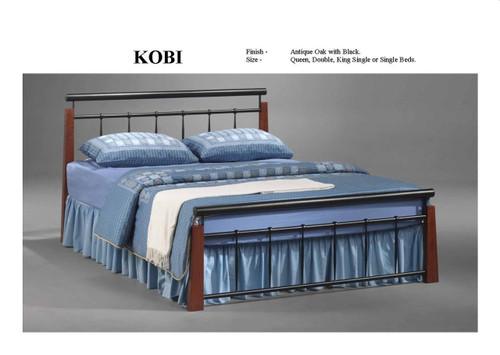 DOUBLE KOBI BED - ANTIQUE OAK / BLACK
