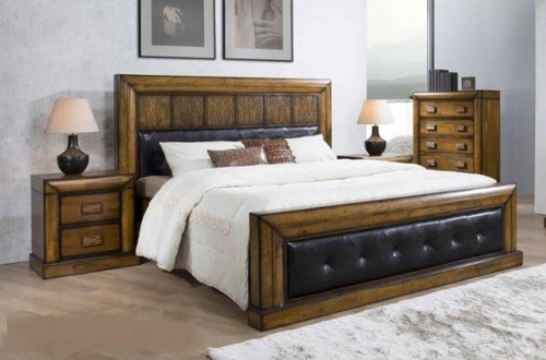 BROOKLYN QUEEN 3 PIECE BEDSIDE WITH BLACK LEATHERETTE UPHOLSTERED PANEL BEDROOM SUITE - ANTIQUE MERONI FINISH