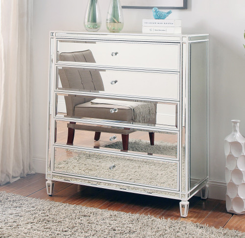 ELLAVEST (685) 5 DRAWER MIRRORED TALLBOY CHEST WITH WHITE WOOD FRAME- 1200(H) X 800(W)  - SILVER