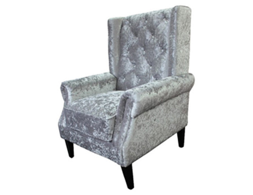 BLING  FABRIC UPHOLSTERED CHAIR WITH CRYSTAL BUTTONS - SILVER