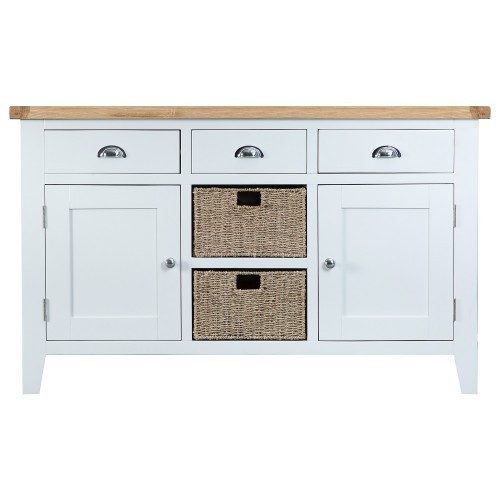 ARBETTA (TT-LS) LARGE 1400(W) BUFFET / SIDEBOARD WITH 2 DOORS -  WHITE / OAK TOP