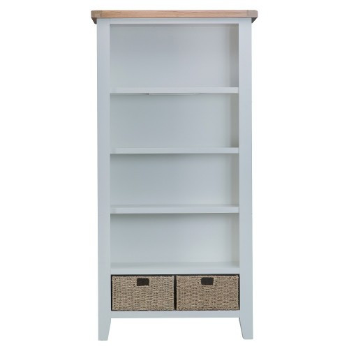 ARBETTA (TT-LBC-W) LARGE BOOKCASE WITH 2 BASKET-  1800(H) X 900(W)  - WHITE  & OAK TOP