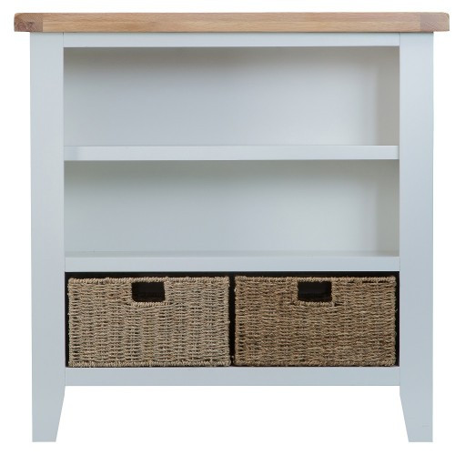 ARBETTA (TT-SWB) SMALL WIDE BOOKCASE - 900(H) X 900(W) - WHITE / OAK