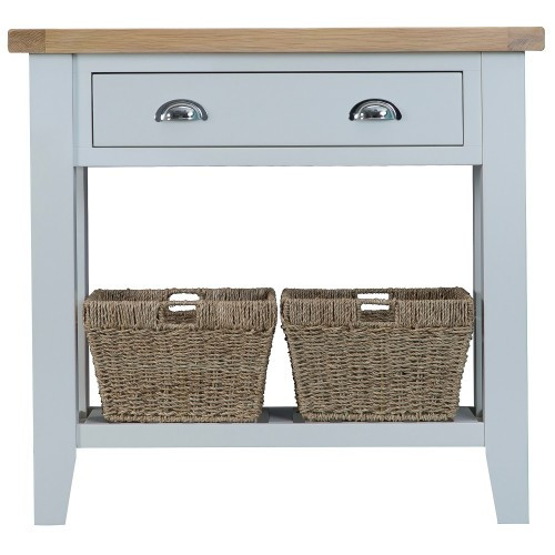 ARBETTA (TT-CON) CONSOLE TABLE WITH ONE DRAWER & 2 BASKETS - 800(H) X 860(W) X 350(D)- TWO TONE
