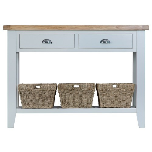 ARBETTA (TT-LCON-W) LARGE CONSOLE TABLE WITH TWO DRAWER & 3 BASKETS -  850(H) X 1200(W) X 350(D) - TWO TONE