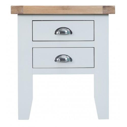 ARBETTA (TT-LT-W) BEDSIDE TABLE WITH 2 DRAWERS  - WHITE / OAK