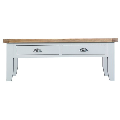 ARBETTA (TT-LCT) LARGE  COFFEE TABLE WITH 2 DRAWERS  - 1200(W) X 600(D) -  WHITE / OAK