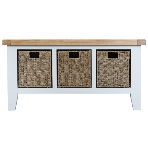 ARBETTA (TT-LHB) LARGE HALL BENCH WITH 3 STORAGE BASKET - 500(H) X 1000(W) - TWO TONE