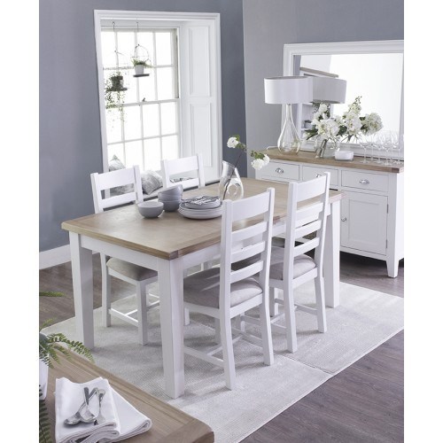 ARBETTA (TT-12BET+CHF) 5 PIECE DINING SETTING WITH 1200/1650(L) X 900(W) EXTENSION TABLE AND 4 LADDER BACK PADDED CHAIRS - TWO TONE