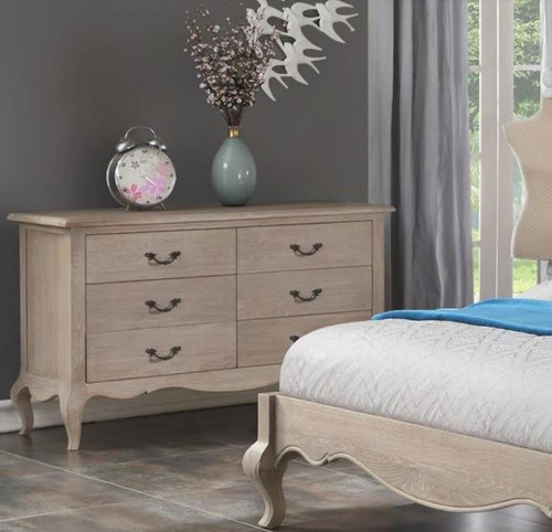 FABIAN 6 DRAWER DRESSING TABLE (FR-6DC) - 780(H) X 1250(W) -NATURAL