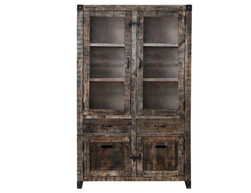CITY LIVING DISPLAY CABINET - BLACK DISTRESSED