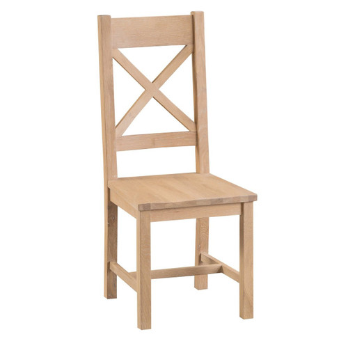 DOVIA (LO-CBCW)  CROSS  BACK CHAIR WITH WOODEN  SEAT - WASHED OAK