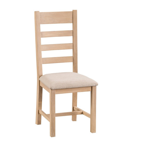 DOVIA (LO-CH)  LADDER BACK CHAIR WITH WOODEN SEAT - WASHED OAK