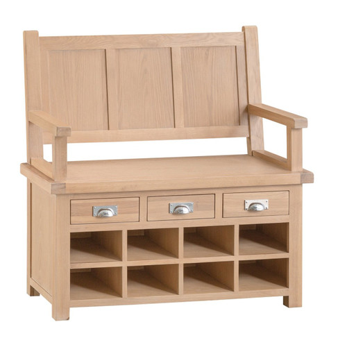 DOVIA (LO-MB) MONK BENCH WITH DRAWERS  - 1090(H) X 1100(W)-WASHED OAK