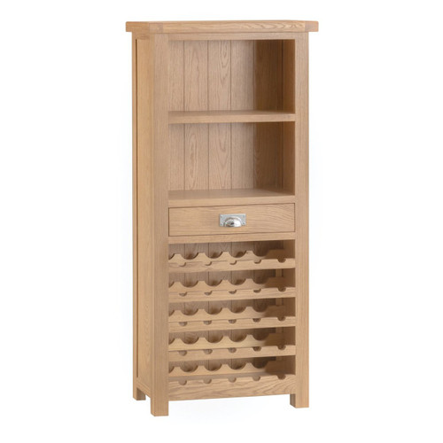 DOVIA (LO-WC) WINE RACK WITH SHELVES & DRAWER   - 1610(H) X 700(W) X 300(D) - WASHED OAK