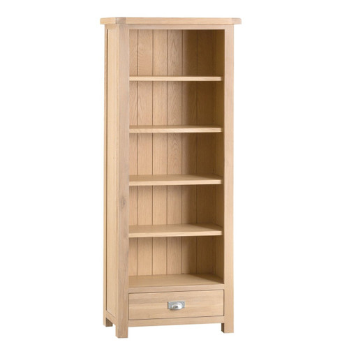 DOVIA (LO-MBC) MEDIUM WIDE BOOKCASE WITH  5 SHELVES / 1 DRAWER  - 1800(H) X 750(W)  - WASHED OAK
