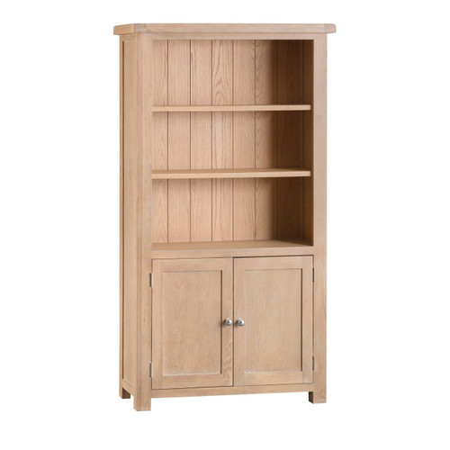DOVIA (LO-LBC) LARGE WIDE BOOKCASE WITH 2 DOOR SHELVES / 3 SHELVES  - 1800(H) X 750(W)  -  WASHED OAK
