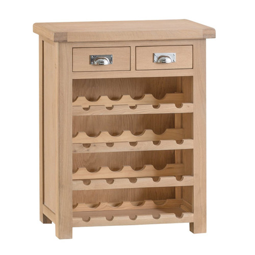 DOVIA (LO-SWR) SMALL WINE RACK WITH 2 DRAWER   - 900(H) X 730(W) X 300(D) - WASHED OAK