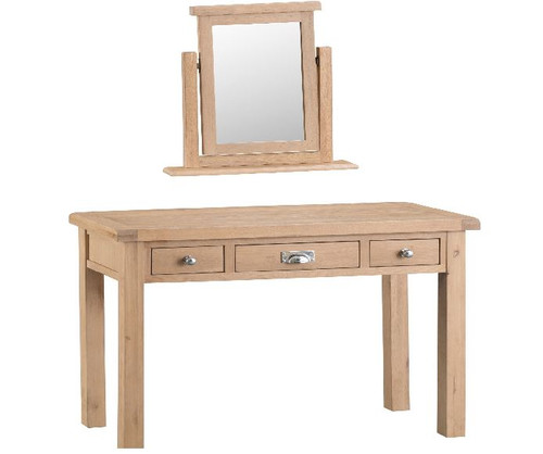 DOVIA (LO-) 3 DRAWER  DRESSING TABLE  WITH MIRROR -830(H) X 1100(W)  - WASHED OAK