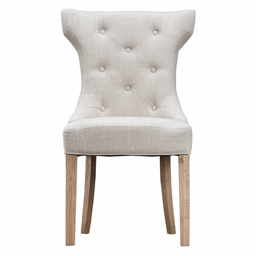 GRACE WINGED BUTTONED BACK CHAIR WITH METAL RING (CH02-BE)  - BEIGE