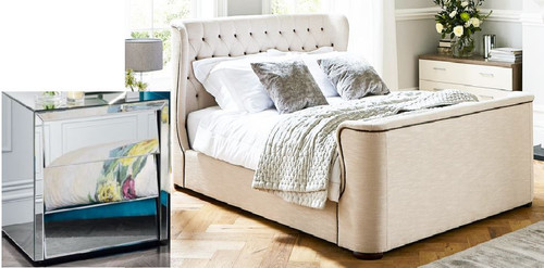 DURANGO  QUEEN 3 PIECE BEDSIDE BEDROOM SUITE WITH MATCHING CASE GOODS  - WHITE /  MIRROR