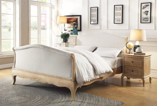 SAMFORD  KING  SOLID OAK FABRIC 3 PIECE  BEDSIDE BEDROOM SUITE (708) - LIME WIRE FINISH