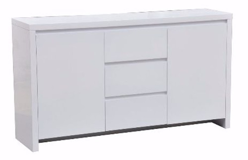 BOWRAL 2 DOOR 3 DRAWER  HIGH GLOSS SIDEBOARD - HIGH GLOSS WHITE