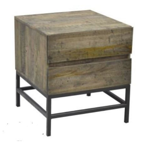 GOMEZ BEDSIDE TABLE WITH 2 DRAWERS (WPTN-004) -  DISTRESSED NATURAL