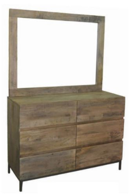 GOMEZ 6 DRAWER DRESSING TABLE  (WPTN-006/7) -  DISTRESSED NATURAL