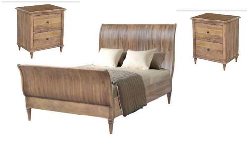 EXQUISITE QUEEN 3 PIECE  BEDSIDE BEDROOM SUITE (WEMP-001) -  FRENCH GREY