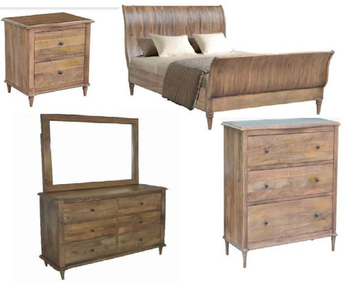EXQUISITE KING 6  PIECE  (THE LOT)  BEDROOM SUITE (WEMP-002) -  FRENCH GREY